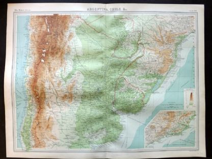 Bartholomew 1922 Large Map. Argentina, Chile, etc